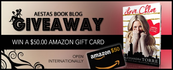 $50.00 GIFT CARD GIVEAWAY — Celebrating release of LOVE, CHLOE by ALESSANDRA TORRE
