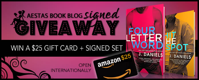 GIVEWAY: $25.00 Amazon Gift Card + Signed Set of FOUR LETTER WORD & HIT THE SPOT by J. Daniels